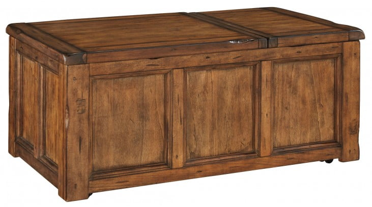Tamonie Medium Brown Rectangular Lift Top Cocktail Table From