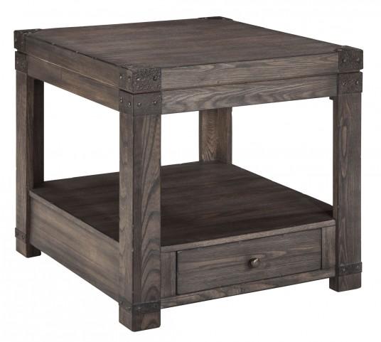 Burladen Grayish Brown Rectangular End Table