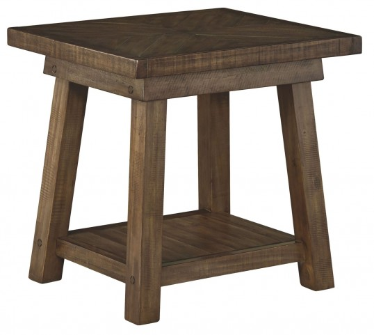 Dondie Rustic Brown Rectangular End Table