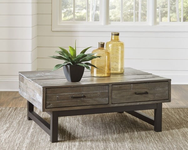 Mondoro Gray and Brown Lift Top Occasional Table Set