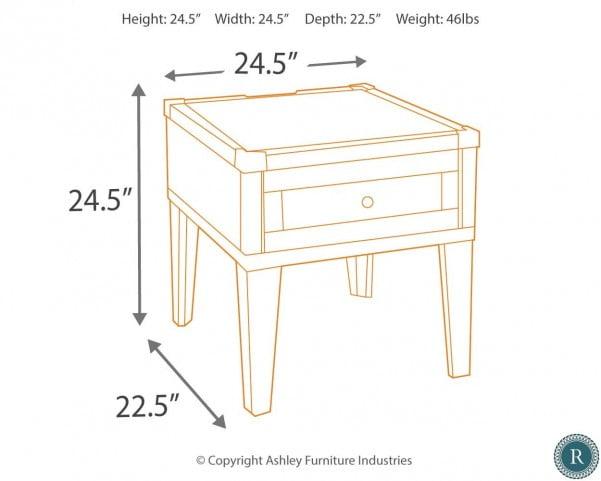 Todoe Dark Gray Rectangular End Table