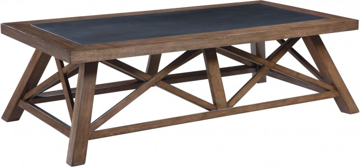 Campfield Brown Rectangular Cocktail Table