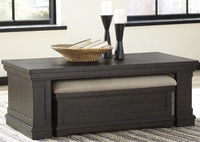 Sharlowe Worn Dark Charcoal Occasional Table Set