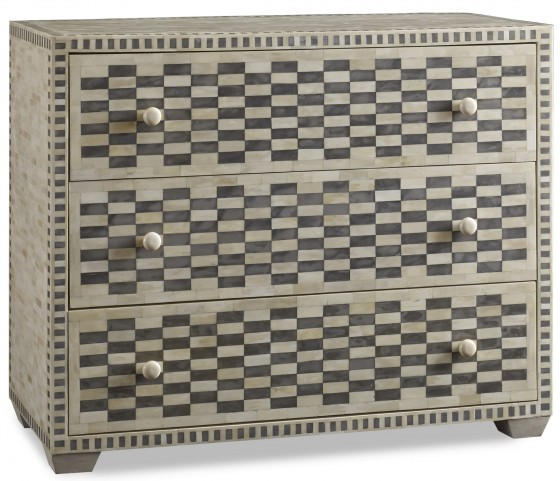 Tangier Charcoal Gray Checkered Bone Chest