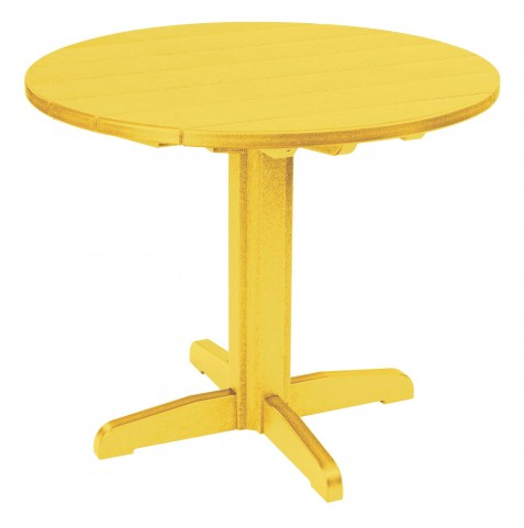 """Generations Yellow 37"""" Round Pedestal Dining Table"""