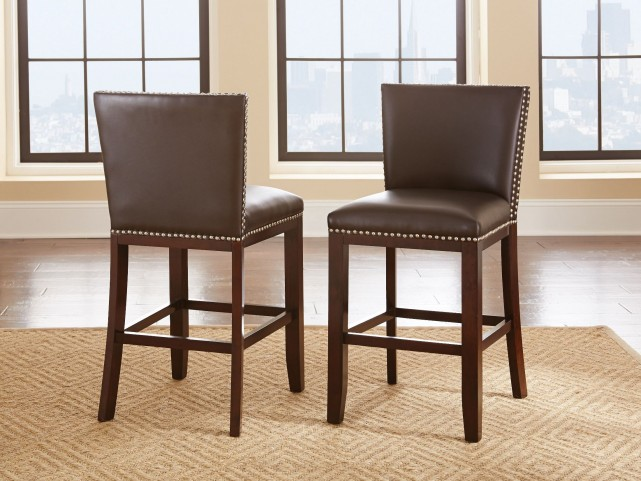 Tiffany Brown Vinyl Counter Chair Set of 2