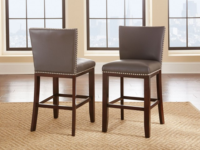 Tiffany Grey Vinyl Counter Chair Set of 2