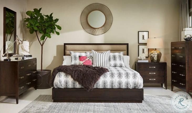 Artiste Dark Cherry Cary Jute Upholstered Panel Bedroom Set