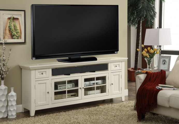 """Tidewater Vintage White Finish 62"""" TV Console"""