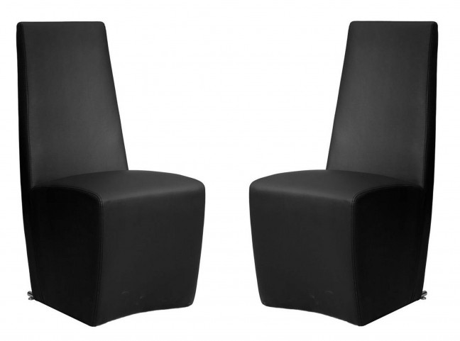 Ritz Tobi Black Synthetic Leather Dining Chair Set of 2