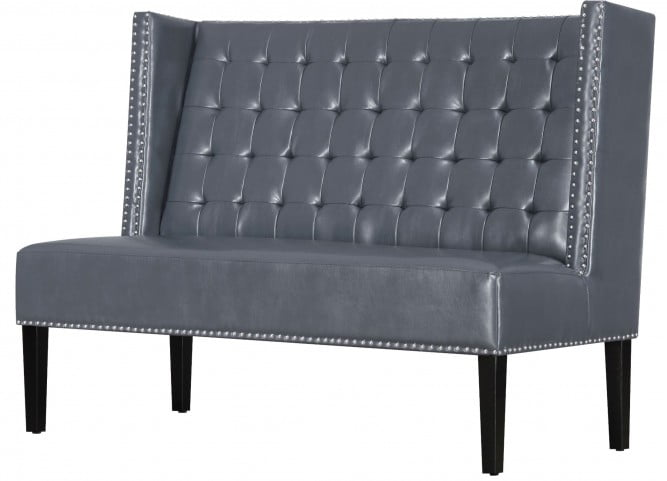 Halifax Gray Leather Banquette Bench