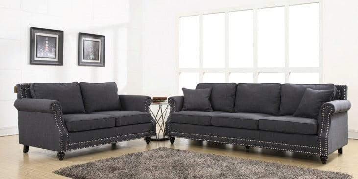 Camden Grey Linen Living Room Set