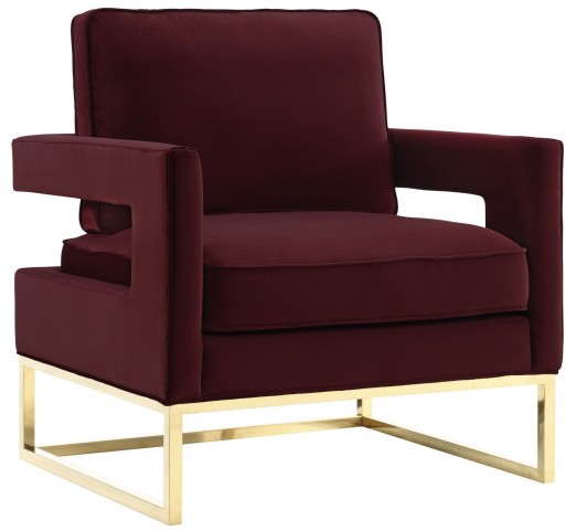 Designer Accent Chairs: Avery Maroon Velvet Chair From TOV
