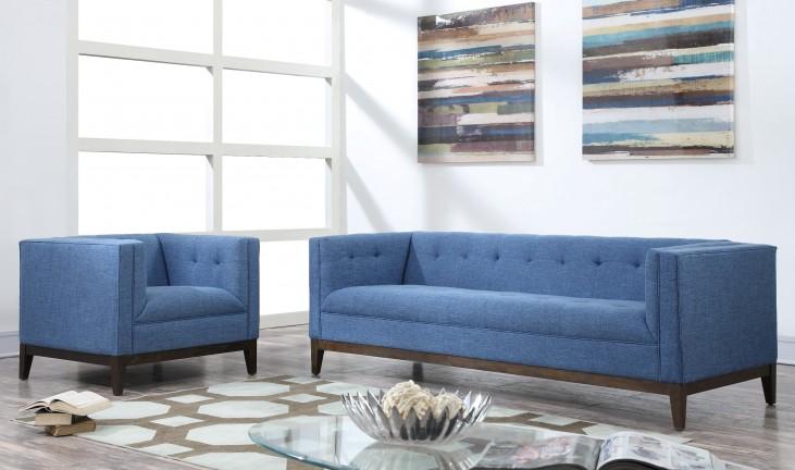 Gavin Blue Linen Living Room Set
