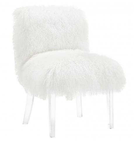 Sophie White Sheepskin Lucite Chair