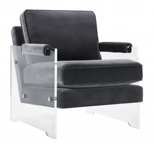 Serena Dark Grey Velvet and Lucite Chair