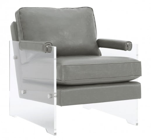 Serena Grey Eco Leather and Lucite Chair