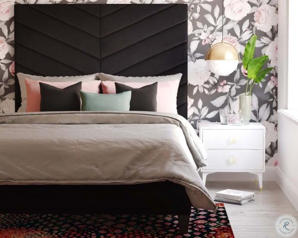 Javan Black Velvet Queen Upholstered Platform Bed
