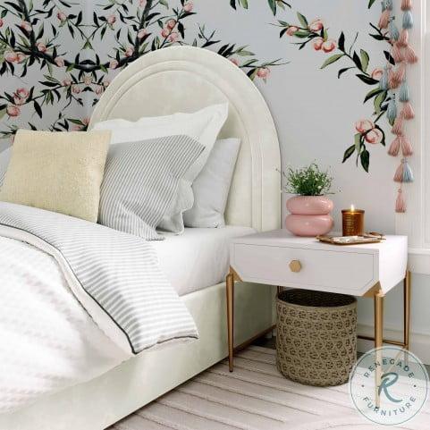 Gumdrop Cream Velvet Twin Panel Bed
