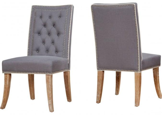 Garrett Grey Linen Dining Chair Set of 2
