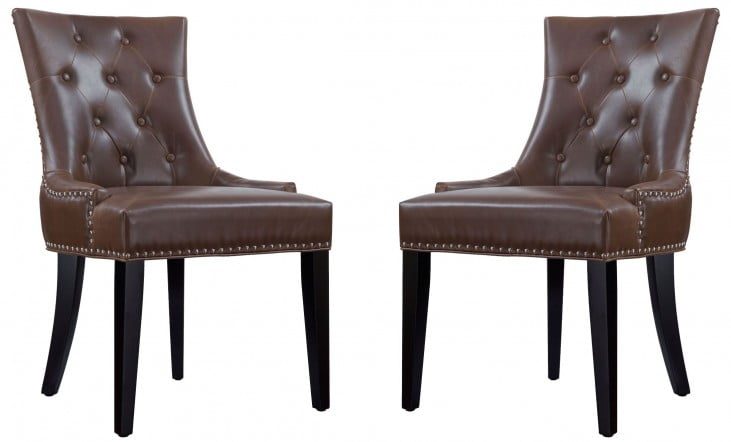 Uptown Antique Brown Leather Dining Chair Set of 2