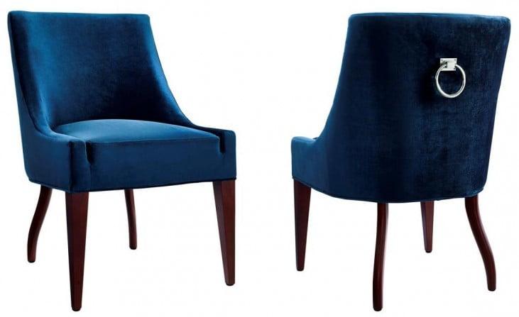 Dover Blue Velvet Chair Set of 2