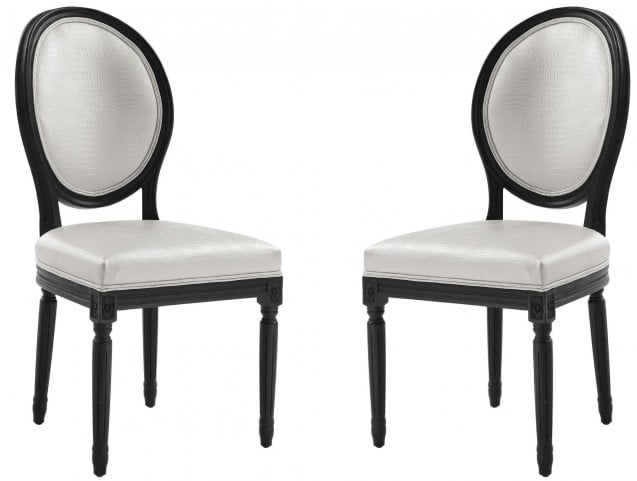 Philip White Croc Dining Chair Set of 2
