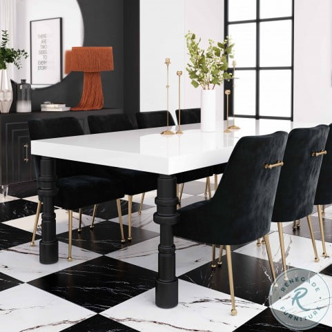 Spindle White and Black Dining Room Set