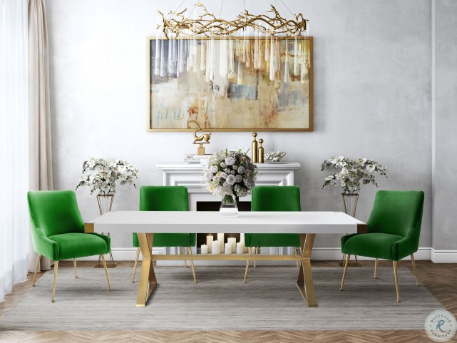 Adeline White and Gold Dining Table