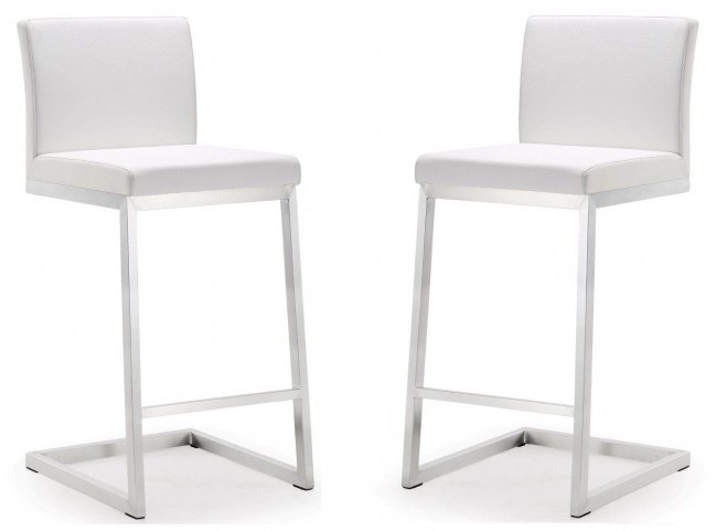 Parma White Stainless Steel Counter Stool Set of 2