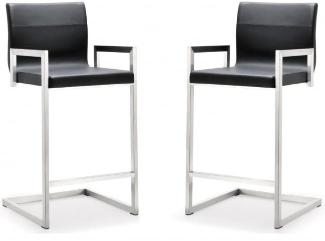 Milano Black Stainless Steel Counter Stool Set of 2