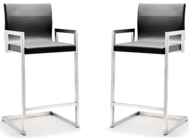 Milano Grey Stainless Steel Counter Stool Set of 2