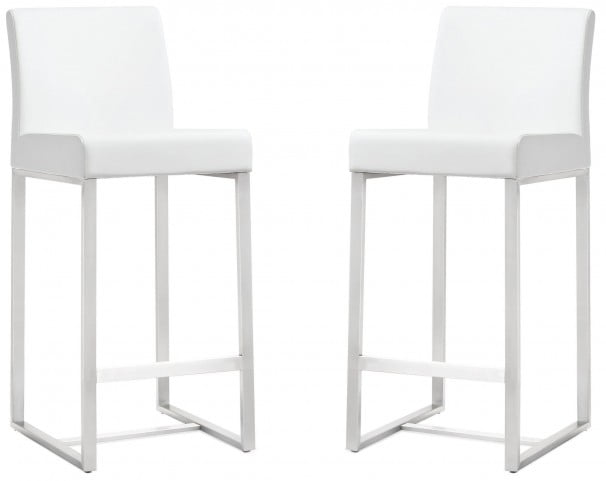 Denmark White Stainless Steel Counter Stool Set of 2