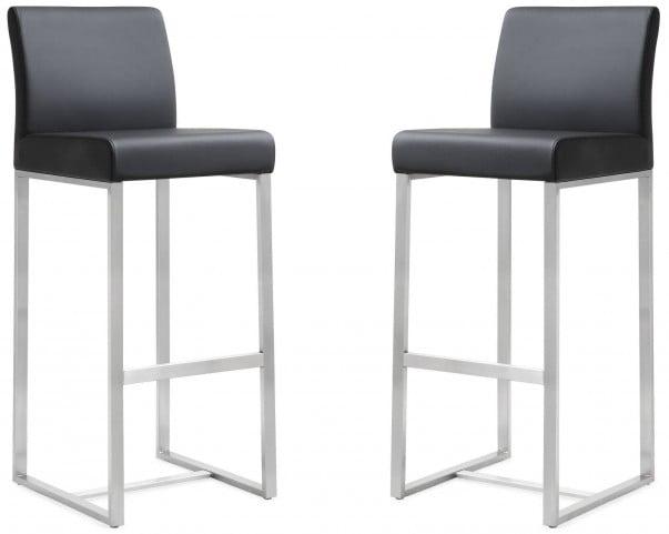 Denmark Black Stainless Steel Barstool Set of 2