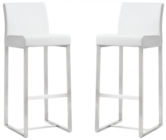 Denmark White Stainless Steel Barstool Set of 2