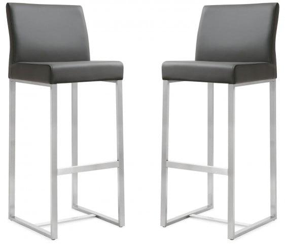 Denmark Grey Stainless Steel Barstool Set of 2