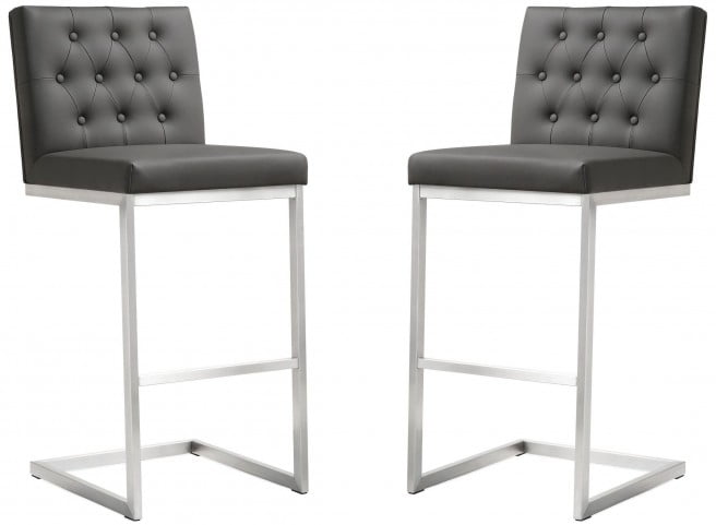 Helsinki Grey Stainless Steel Barstool Set of 2