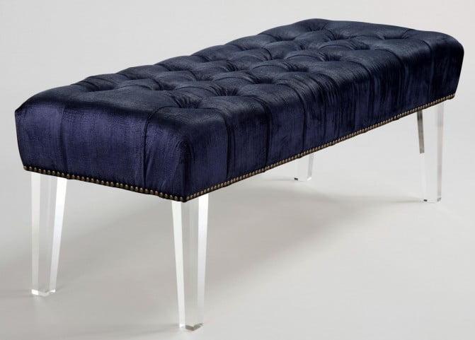 Stella Navy Velvet Acrylic Bench