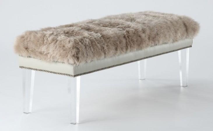 Luxe Brown Sheepskin Lucite Bench