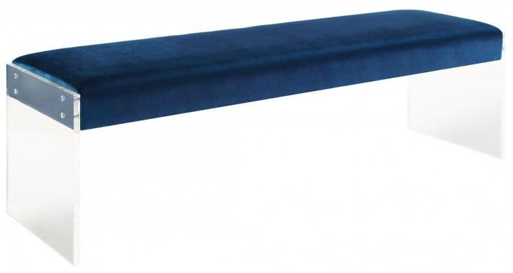 Envy Blue Velvet/Acrylic Bench