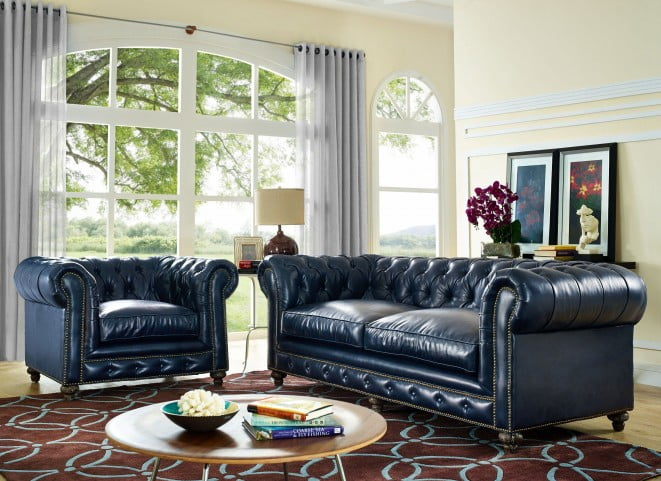 Durango Rustic Blue Leather Living Room Set