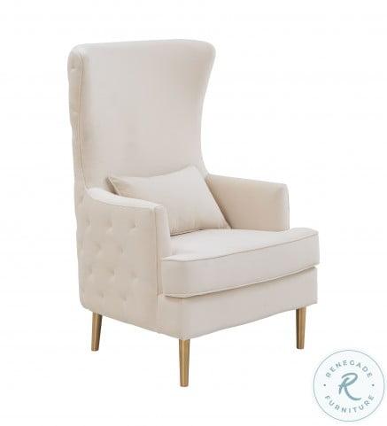 Alina Cream Tall Tufting Wingback Chair