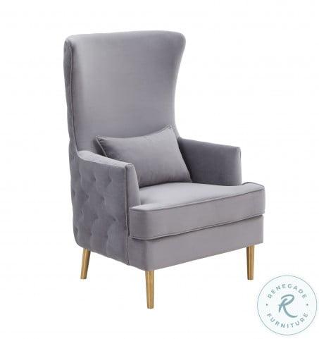 Alina Grey Tall Tufting Back Chair