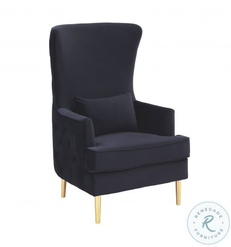 Alina Black Tall Tufting Wingback Chair