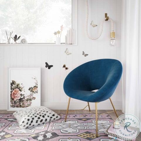 Nolan Navy Velvet Accent Chair