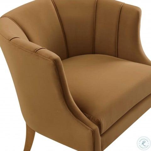 Turin Cognac Velvet Chair