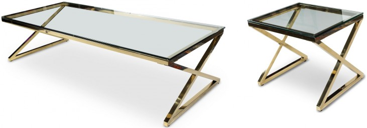 Trance Stacy Brass Rectangular Occasional Table Set