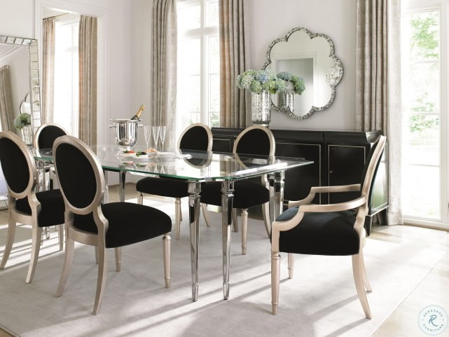 Caracole Classic Black Velvet And Silver Leaf Dining Chair Set Of 2 From Caracole Coleman Furniture