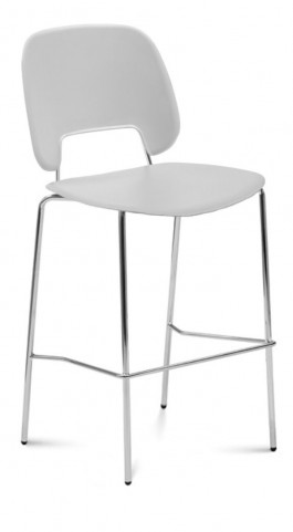 Traffic Light Grey Lacquered Steel Chrome Frame Stacking Chair