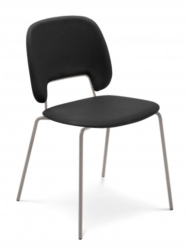 Traffic Skill Black Lacquered Sand Frame Steel Stacking Chair Set of 4